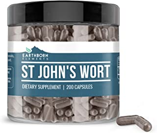 EARTHBORN ELEMENTS St. John's Wort (200 Capsules) 100% Pure & Natural Herbal Remedy, Gluten-Free (800 mg Serving)