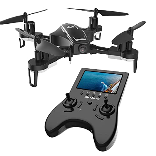 Holy Stone HS230 RC Racing FPV Drone with 120° FOV 720P HD Camera Live Video 45Km/h High Speed Wind Resistance Quadcopter with 5.8G LCD Screen Real Time Transmitter Includes Bonus Battery, Black