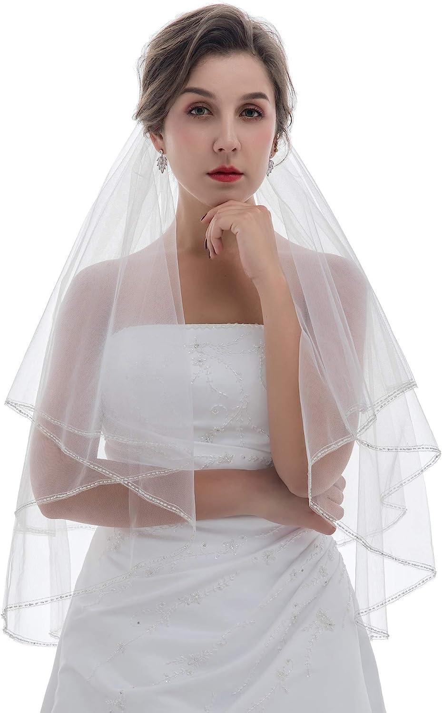 SAMKY 2T 2 Tier Classic Silver Beaded Trim Bridal Wedding Veil