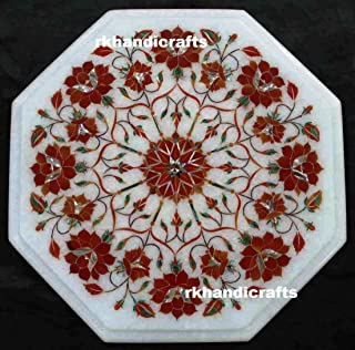 White Marble End Table Top Inlay Work Red Jasper Stone with Flower Design Elegant Look to Among Your Guest 12 Inches