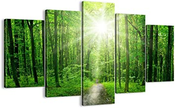 Large Sunshine Modern Landscape Wall Art Green Tree Painting 5 PCS Artwork Multi Panel,Country Road HD Prints Pictures Giclee for Living Room Home Decor Framed Stretched Ready to Hang(60''W x 40''H)