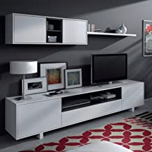 Habitdesign 0T6682BO - Mueble de comedor moderno, color Blanco Brillo y Negro Brillo, medidas: 200 cm x 41 cm de profundidad