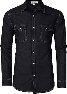 MrWonder Mens Casual Fit Button Down Shirts Long Sleeve Denim Shirts Western Shirt