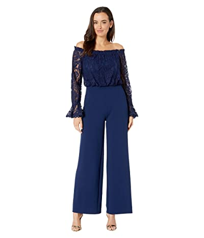 Adrianna Papell Knit Crepe Wide Leg Jumpsuit w/ Off the Shoulder Lace Top (Navy Sateen) Women