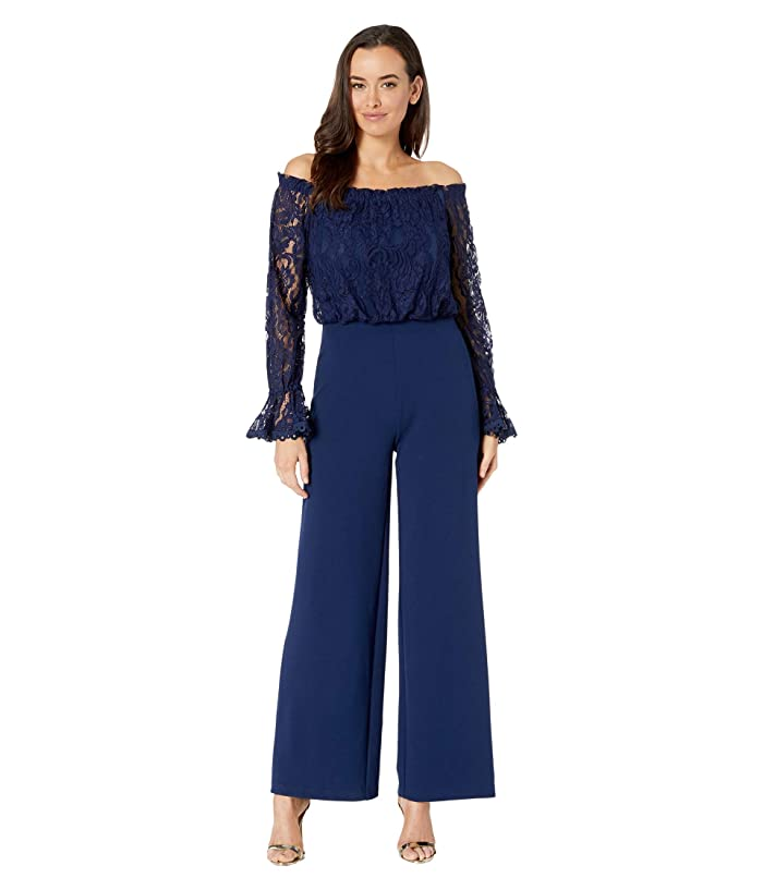 Adrianna Papell  Knit Crepe Wide Leg Jumpsuit with Off the Shoulder Lace Top (Navy Sateen) Womens Jumpsuit and Rompers One Piece