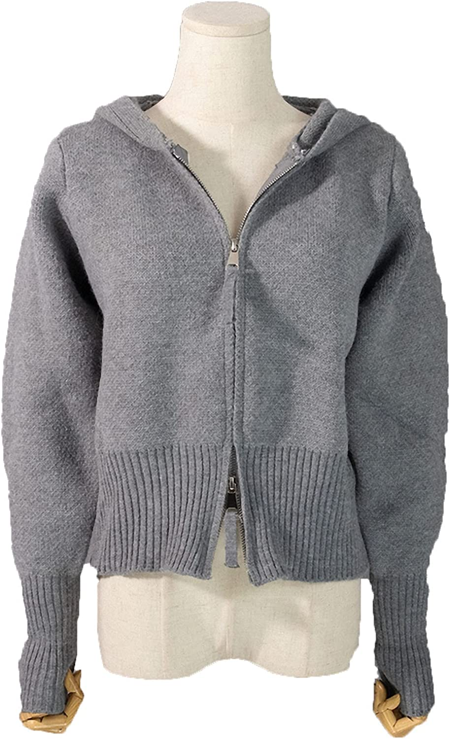 Barsly Winter Spring Women Sweaters Short Cardigans Zipper Hooded Thicken Knitted Wild Lady Top