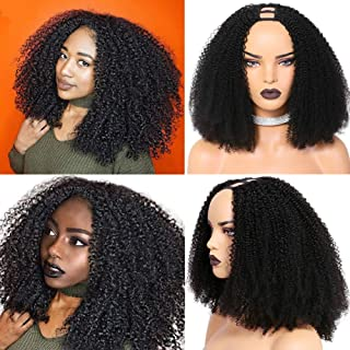 VIPbeauty Afro Kinky Curly U Part Machine Made Hair Wigs 100% Unprocessed Brazilian Remy Hair U Part Wig For Black Women 1...