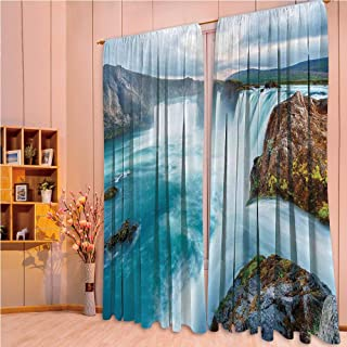 ZHICASSIESOPHIER Print Kids Curtains,Polyester Curtains Panels for Bedroom,Living Room,Waterfall Dramatic Landscapes Picture Sunset 108Wx90L Inch