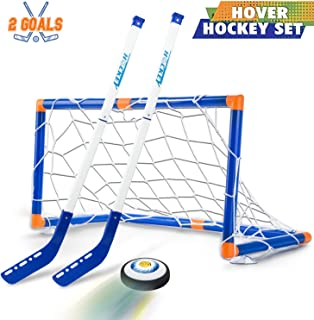 Boys Toys Hover Hockey Set- Hovering Hockey Toys with Foam Bumper for Indoor Games, Air Power Training Ball Playing Hockey Game,Hockey Toys for 3 4 5 6 7 8 9 10 11 12 Year Old Boys Girls