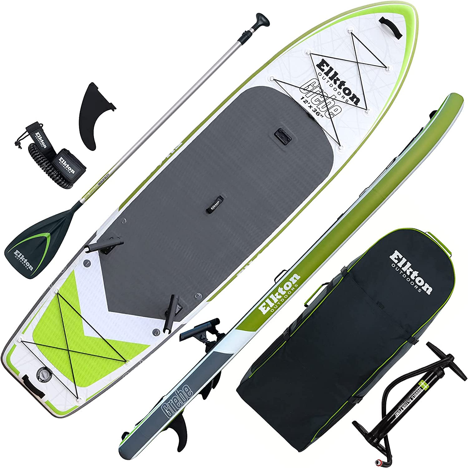 Elkton Outdoors Grebe Inflatable Fishing Paddle-Board