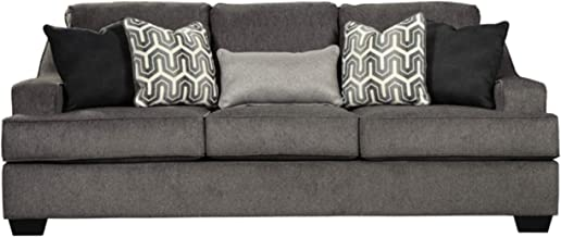 Signature Design by Ashley - Gilmer Contemporary Chenille Upholstered Sofa w/Accent Pillows, Gunmetal