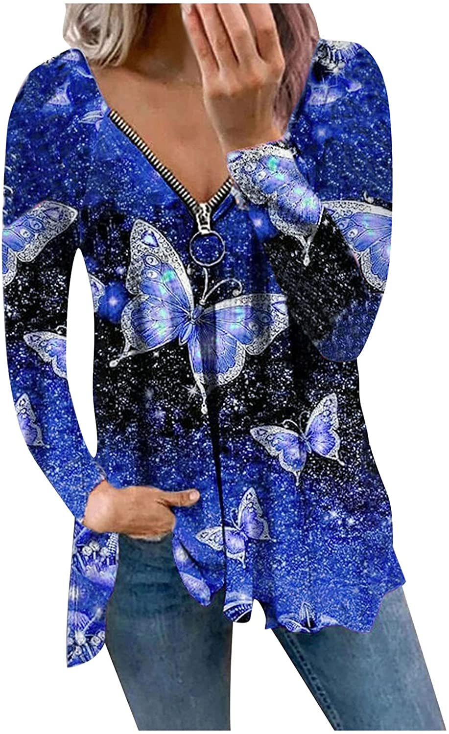 MASZONE Hoodies for Women Zip up with Designs Floral Print Lightweight Sweatshirts Long Sleeve Casual Pullover Blouses