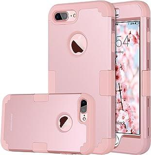 BENTOBEN Funda iPhone 8 Plus, Funda iPhone 7 Plus Original, 3 en 1 Carcasa Combinada PC Híbrido y Silicona TPU Resistente PC Bumper Fuerte Protectora Funda para iPhone 7 Plus/8 Plus (5.5''), Oro Rosa