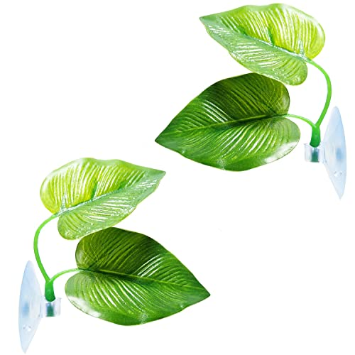 2 Pack Betta Fish Leaf Pad Betta Hammock Toys Plastic Aquarium Plants with Suction Cup,