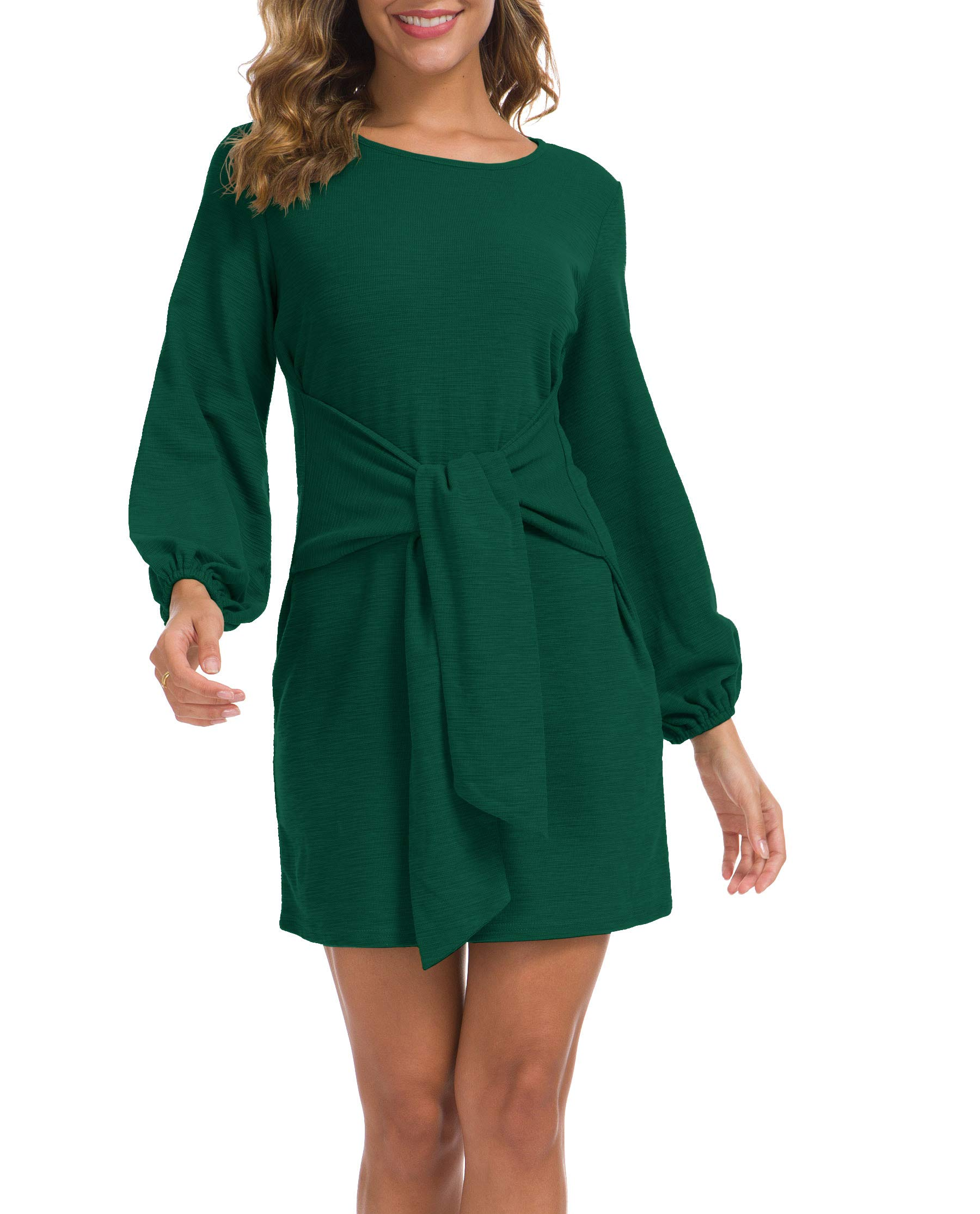 Sweater Dress - Fanew Womens Cowl V- Neck Buttoned Knit Loose Fit Sweater Dress With Pocket