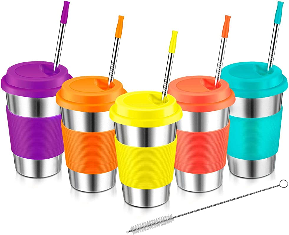 Stainless Steel Cups For Kids Kereda 16oz 5 Pack Tumblers Set Coffee Mugs Premium Drinking Glasses With Lids And Metal Straws Unbreakable
