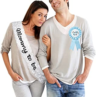 TTCOROCK Baby Shower White Lace Sash Daddy to Be Tinplate Badge Combo Kit Baby Shower Party Gender Reveals Party Gifts (Blue)