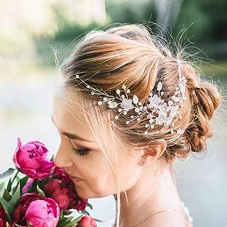 Ushiny - Copricapo per capelli da sposa, con cristalli argentati, per donne e ragazze