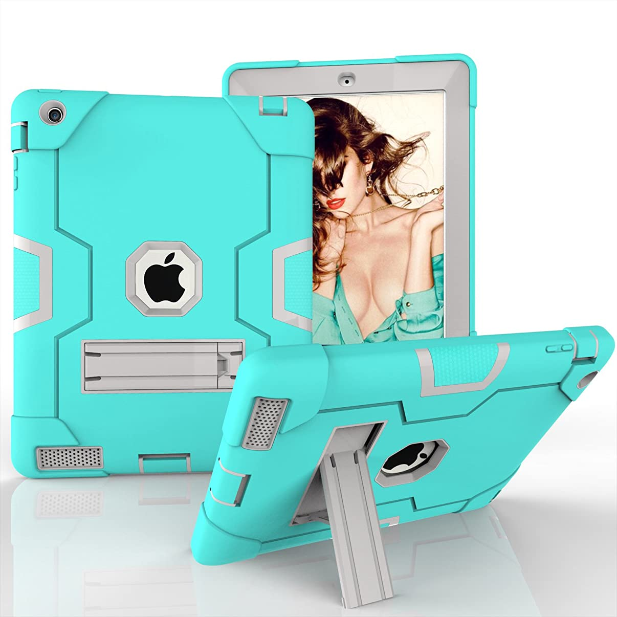 Pad 2 Case, iPad 3 Case, iPad 4 Case, Kickstand Heavy Duty Rugged Shock-Absorption Silicone High Impact Resistant Hybrid Three Layer Armor Defender Protective Case iPad 2/3/4