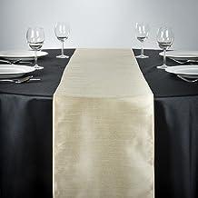 """LinenTablecloth Shantung Silk Table Runner, 14 x 108"""", Beige"""