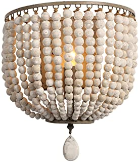 Newrays Vintage Wood Bead Wall Lamp Gray White Finishing Retro Antique with Hard Wired for Bedroom Fixtures