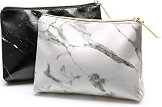 2 Pieces Marble Makeup Bags Portable Zipper Cosmetic Bags Toiletry Travel Storage Pouches for Traveling Storage (White and Black)