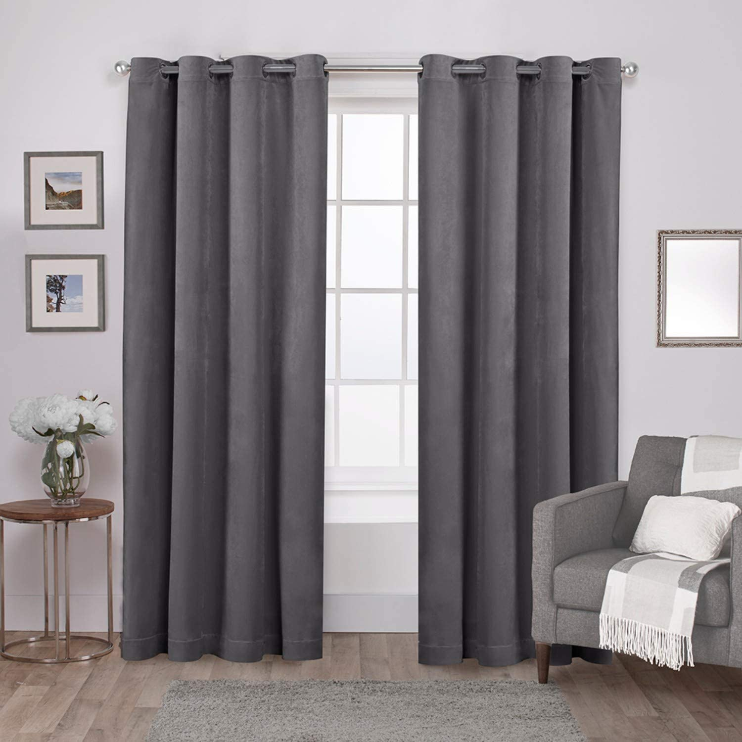 Exclusive Home Curtains Velvet Heavyweight Window Curtain Panel Pair with Grommet Top, 54x84, Soft Grey, 2 Piece