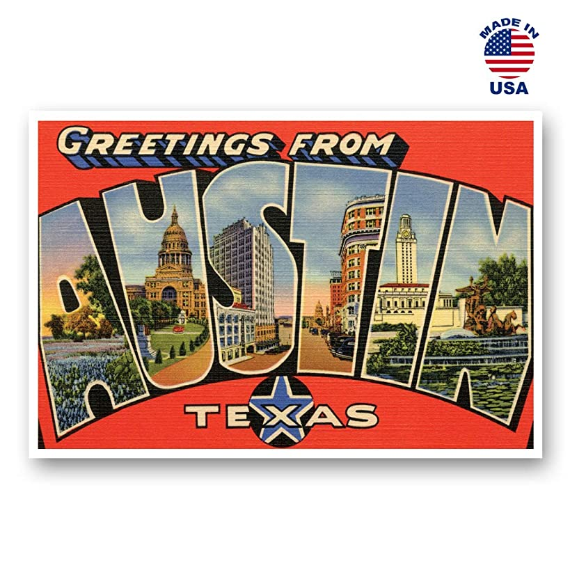 GREETINGS FROM AUSTIN, TX vintage reprint postcard set of 20 identical postcards. Large Letter Austin, Texas city name post card pack (ca. 1930's-1940's). Made in USA.