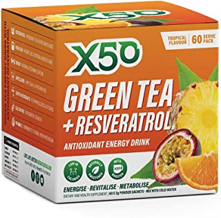 Green Tea X50 Green Tea & Resveratrol Tropical Energy Drink Powder 60 Sachets, Antioxidants, Natural Fat Burner, Tropical,...