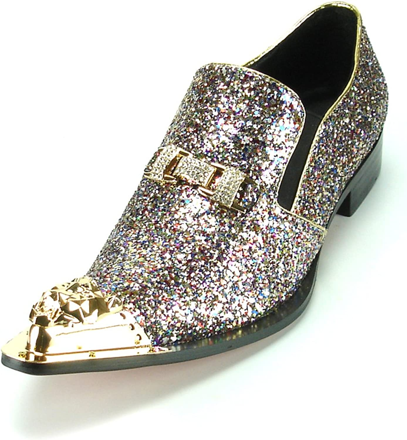 Fiesso by Aurelio Garcia FI-7072 Silver Glitter with gold Ornament and Metal TIP European shoes Designs