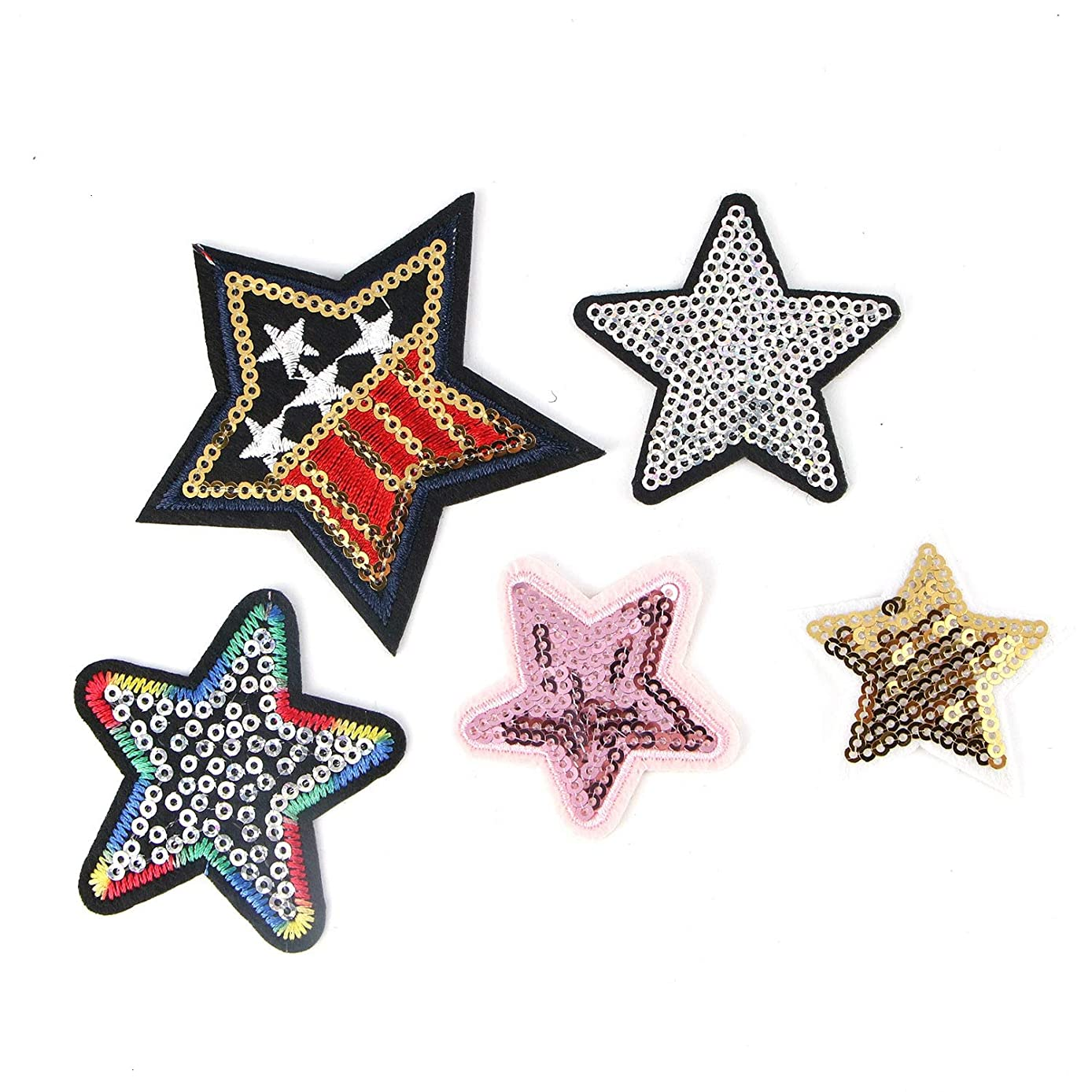 Monrocco 30Pcs Embroidery Sequined Five-Pointed Star Patches Iron On Patches for Clothing,5Colors