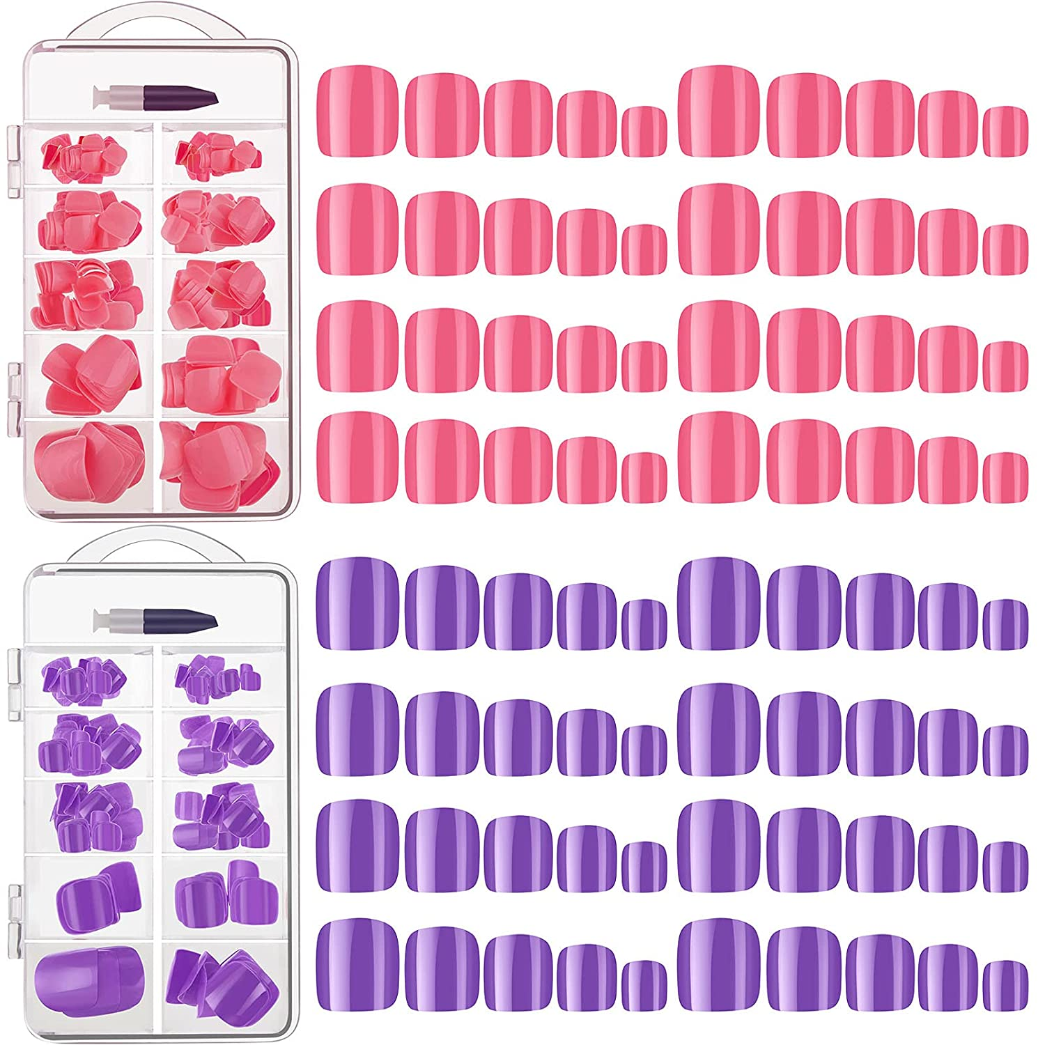 Clearance SALE! Limited time! 2 Boxes Short Square False Max 56% OFF Toe Press Nails Toenails Solid Col On