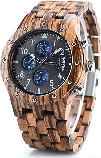 BEWELL Wood Watches for Men, Date Display Chronograph Quartz Wrist Watch, Brown Zebra Wood