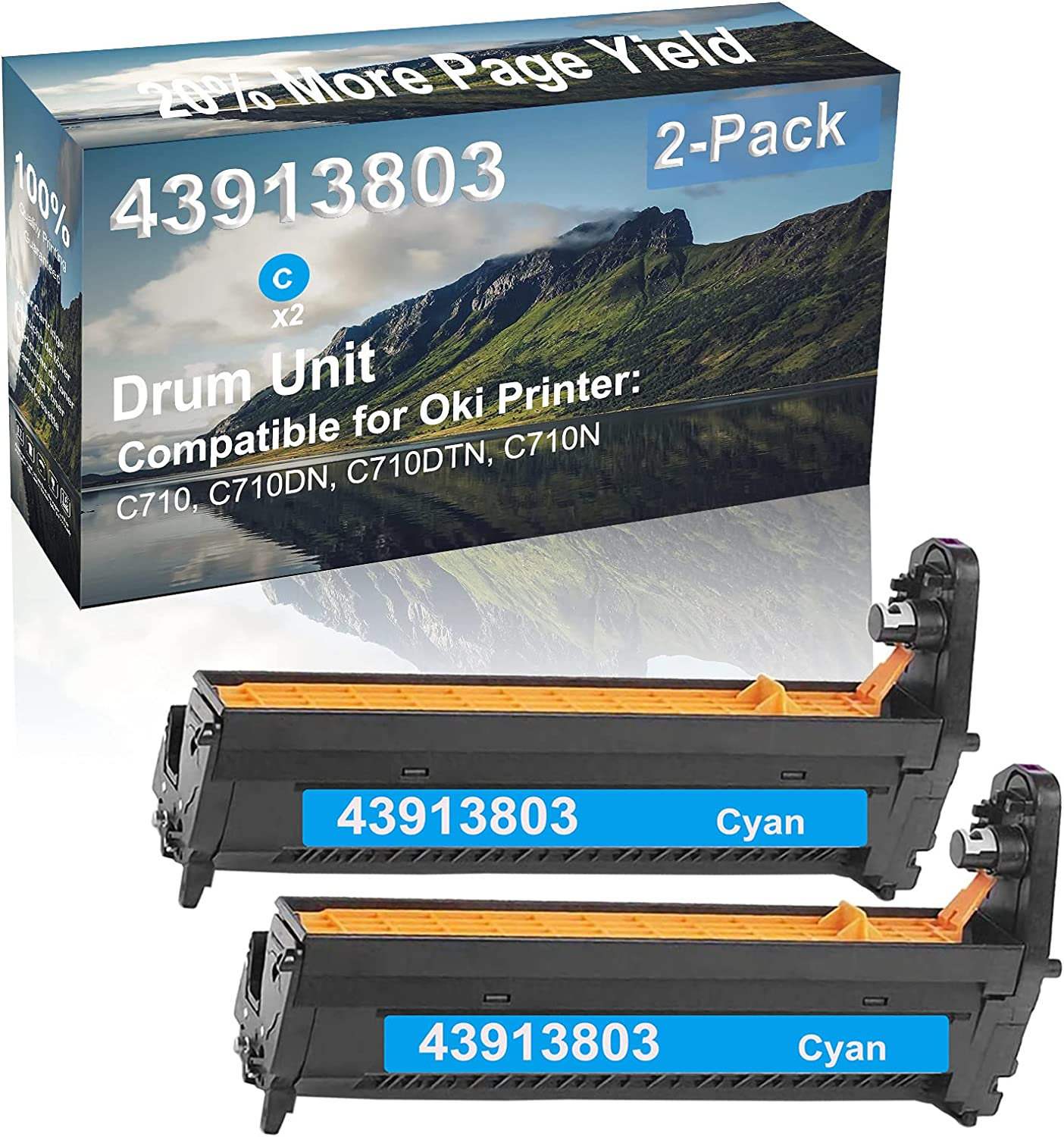 2-Pack (Cyan) Compatible High Capacity 43913803 Drum Unit Used for Oki C710, C710DN, C710DTN, C710N Printer