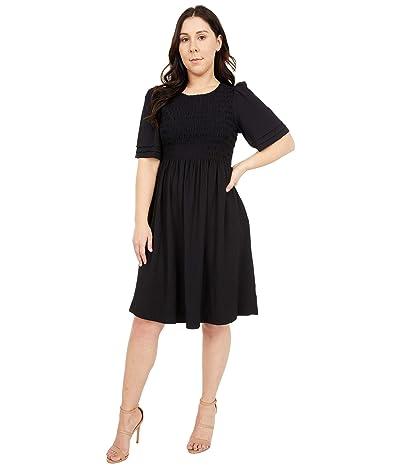 Calvin Klein Short Sleeve Smocked Detail Gauze Dress Women