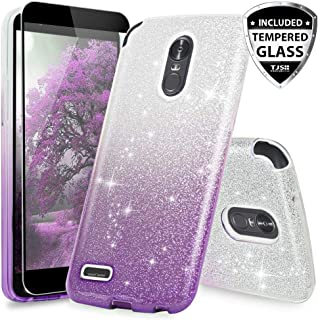 LG Stylo 3 Case, LG Stylo 3 Plus Case, with TJS [Full Coverage Tempered Glass Screen Protector] Two Tone Shinny Glitter Hybrid TPU Protection Phone Cover Case for Girls Women (Purple)