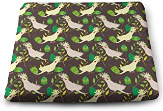 XIKEWL Comfortable Square Chair Pad Birds Parrot Corella and Leafs Print Indoor/Outdoor Warm Patio Seat Cushions 14''x15'' for Outdoor Patio Furniture Garden Home Office