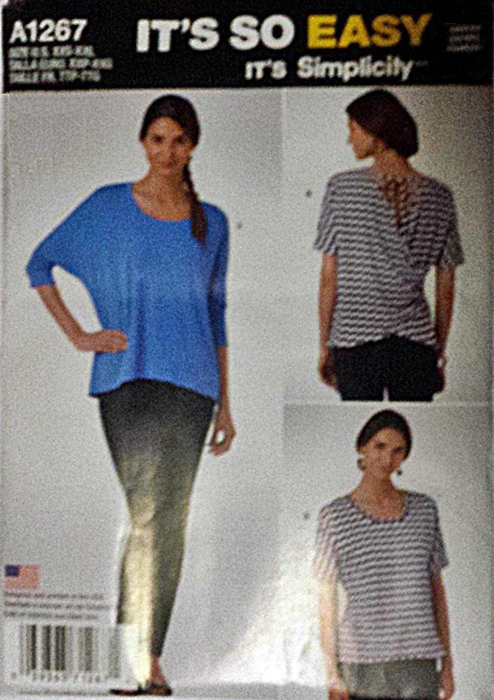 Simplicity It's So Easy 1267 Misses' Knit Top Sizes XXS - XXL (4-26)
