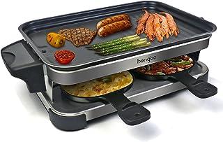 Appareil a Raclette 4 Personne avec Revêtement Anti-Adhésif, Réservoir d'huile, Facile à Nettoyer, Comprend Amélioré 4 Poê...