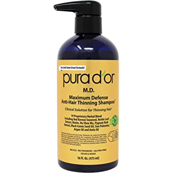 PURA D'OR MD Anti-Hair Thinning Shampoo w/ 0.5% Coal Tar, Biotin Shampoo, 19+ DHT Herbal Blend for Dry & Itchy Scalp, No Sulfates, For Men & Women, 16 Fl Oz (Packaging Varies)
