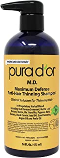 PURA D'OR MD Anti-Hair Thinning Shampoo w/ 0.5% Coal Tar, Biotin Shampoo, 19+ DHT Herbal Blend for Dry & Itchy Scalp, No S...
