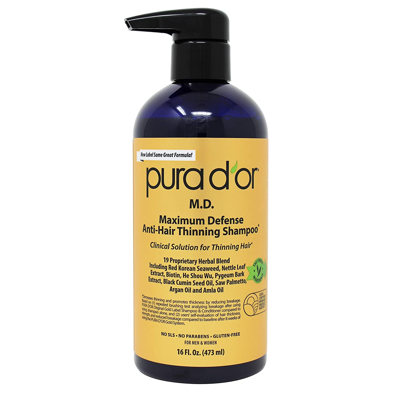 PURA D'OR MD Anti-Hair Thinning Shampoo w/ 0.5% Coal Tar, Biotin Shampoo, 19+ DHT Herbal Blend for Dry & Itchy Scalp, No Sulfates, For Men & Women, 16 Fl Oz (Packaging Varies) : Beauty & Personal Care