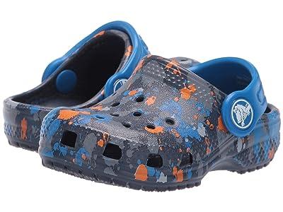 Crocs Kids Classic Printed Clog (Toddler/Little Kid/Big Kid) (Navy/Bright Cobalt) Kid