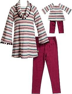 Dollie & Me Girls Plum Stripe Size 7-14 Rib Knit Tunic Scarf Leggings