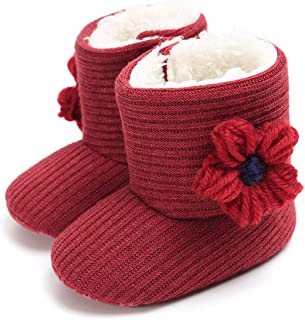 LIVEBOX Prewalker Toddler Boots Premium Soft Anti-Slip Sole Warm Winter Boots for Infant Baby Girls (12-18 Months Infant, Flowerknit-red)