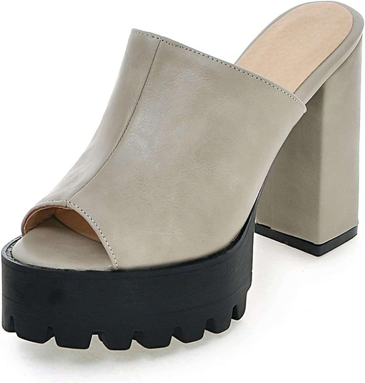 Nerefy New Big Size 32-43 Peep Toe Woman Mules Pumps Platform Fashion Square High Heels Party shoes