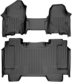 SMARTLINER Custom Fit Floor Mats 2 Row Liner Set (Both Rows 1pc) Black for 2019-2021 Ram 1500 Crew Cab with First Row Bench Seat
