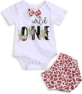Baby Kids Birthday Giraffe Romper Outfits Infant Boy Wild One Gentleman Bodysuit Cake Smash Party Clothes