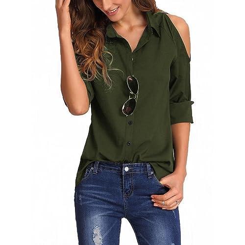7cfad8086d Naaz Women s V Cut Open Shoulder Blouse Solid Black Olive Green Wine Shirt