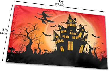 Happy Halloween Witch Castle Moon Flag, 3x5ft Polyester Banner with Grommets, Garden Yard House Flags Indoor and Outdoor Spor